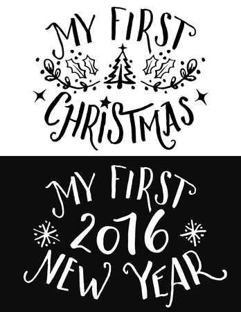 Illustration pour My first Christmas and New Year lettering. Hand-drawn typography set for print on children's clothing and gifts for kids on first holiday in their life - image libre de droit