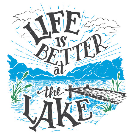 Illustration pour Life is better at the lake. Lake house decor sign in vintage style. Lake sign for rustic wall decor. Lakeside living cabin, cottage hand-lettering quote. Vintage typography illustration - image libre de droit