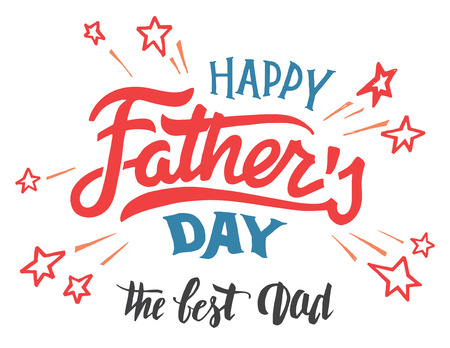 Illustration pour Happy father's day hand-lettered greeting card. Hand-drawn typography and calligraphy isolated on white background - image libre de droit