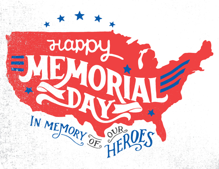 Illustration pour Happy Memorial Day. In memory of our heroes. Hand-lettering greeting card with textured sketch of silhouette US map. Vintage typography illustration isolated on white background - image libre de droit