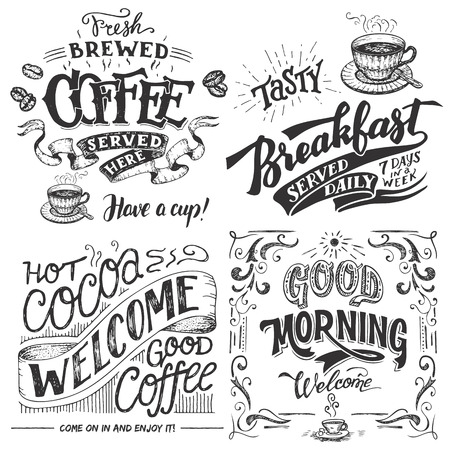 Illustration pour Fresh brewed coffee served here. Tasty breakfast served daily. Hot cocoa and good coffee welcome sign. Good morning cafe sign. Hand lettering with sketches. Vintage typography for cafe or restaurant - image libre de droit