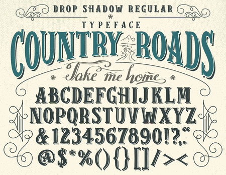 Illustration pour Country roads, take me home. Handcrafted retro drop shadow regular typeface. Vintage font design, handwritten alphabet - image libre de droit