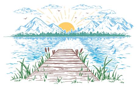 Ilustración de Rising sun on the lake, landscape with a bridge. Hand-drawn vintage illustration. - Imagen libre de derechos
