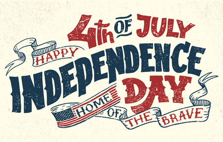 Illustrazione per Happy Fourth of July. Independence day of the United States, 4th of July. Home of the brave. Hand lettering greeting card with textured letters. Vintage typography illustration. - Immagini Royalty Free
