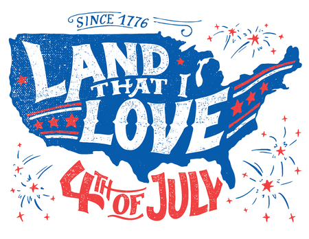 Illustration pour Land that I love. Happy Fourth of July. Independence day of the United States, July 4th. Happy Birthday America. Hand-lettering greeting card on textured silhouette of US map. Vintage typography illustration - image libre de droit