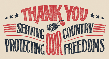 Ilustración de Thank you for serving our country and protecting our freedoms. Veterans day hand-lettering greeting card. Holiday hand-drawn typography poster - Imagen libre de derechos