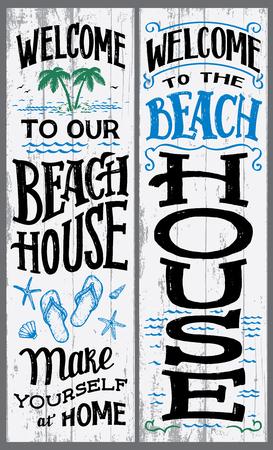 Ilustración de Welcome to our beach house sign - Imagen libre de derechos