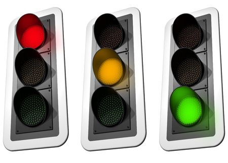 Isolated illustration of three signaling traffic lights