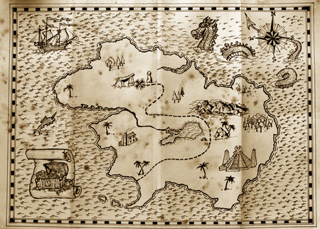 Photo for Old treasure map used by pirates to find hidden treasure - Royalty Free Image