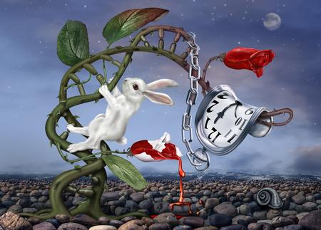 Foto de White rabbit climbing a double helix with surreal watch - Imagen libre de derechos