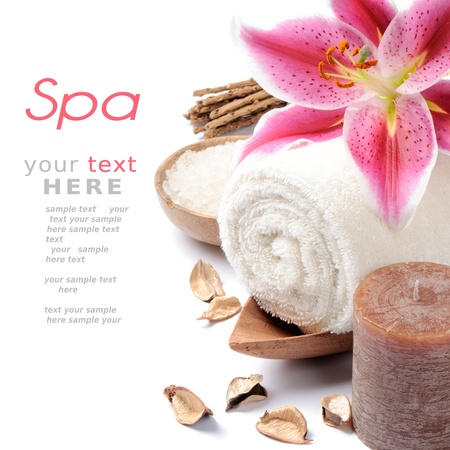 Spa setting in brown tone over white background