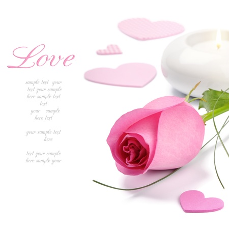 Photo for Pink rose and candle over white - Royalty Free Image