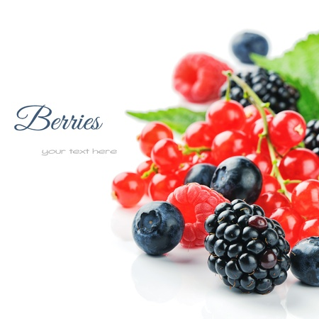 Photo for Fresh organic berries isolated over white - Royalty Free Image