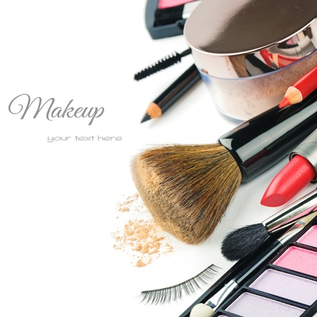 Photo for Colorful makeup products isolated over white - Royalty Free Image