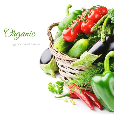 Photo for Fresh organic vegetables in wicker basket - Royalty Free Image