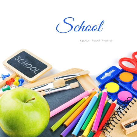 Photo for Colorful school supplies. Back to school concept - Royalty Free Image