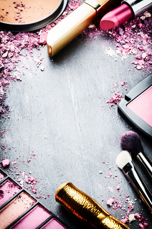 Photo for Frame with various makeup products in pink tone - Royalty Free Image