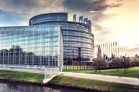 Photo for European Parliament building at sunset. Strasbourg, France - Royalty Free Image