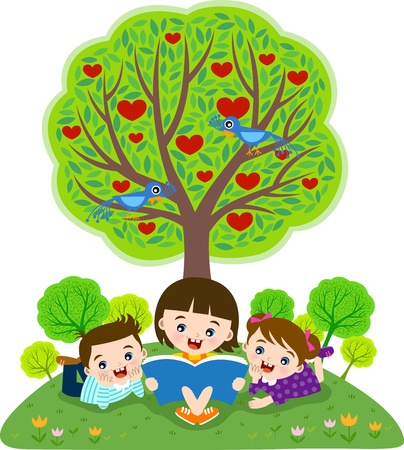 Children reading book under apple tree