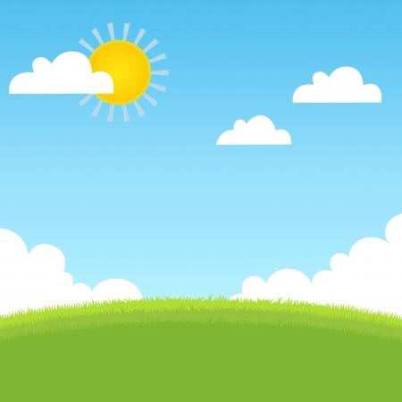 Illustration pour Summer landscape with grass, blue sky  - image libre de droit