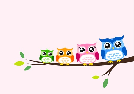 Photo pour owl family greeting  - image libre de droit