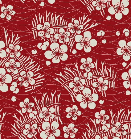 Illustration pour seamless japanese floral pattern - image libre de droit