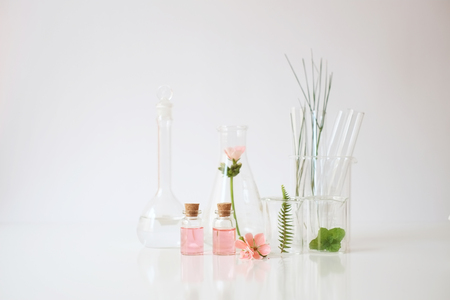 Foto de laboratory experiment and research with leaf, oil and ingredient  extract for natural beauty and organic skincare product the blank bottle for label ,bio science concept. alternative medicine. spa. - Imagen libre de derechos