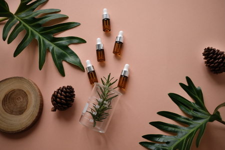 Foto de natural cosmetic cream , serum, skincare blank bottle packaging with leaves herb, wood . bio organic product.beauty and spa concept. - Imagen libre de derechos