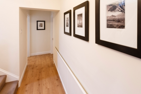 Photo for Wooden floor and neutral walls in a contemporary apartment - Royalty Free Image