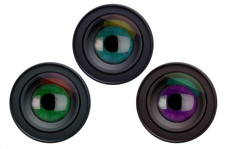 Three camera lenses with eyes, composition