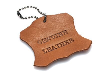 genuine leather label printed text burned into a piece of skin