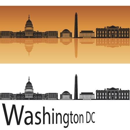Illustration pour Washington DC skyline in orange background - image libre de droit