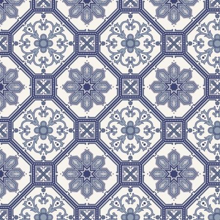Foto de Arabesque seamless pattern in blue and grey in editable file - Imagen libre de derechos