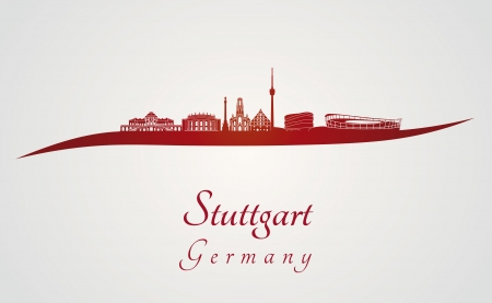 Illustration pour Stuttgart skyline in red and gray background in editable vector file - image libre de droit
