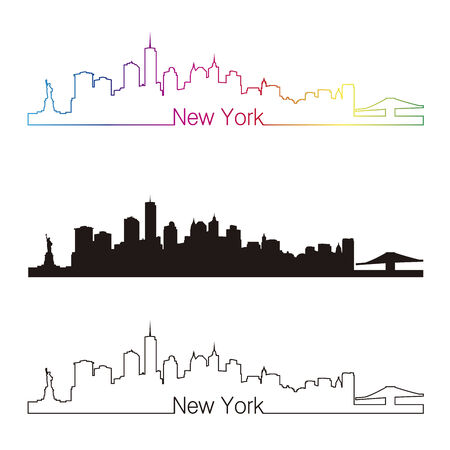 Illustration pour New York skyline linear style with rainbow in editable vector file - image libre de droit