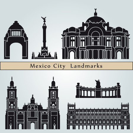 Illustration for Mexico City landmarks and monuments isolated on blue background in editable vector file - Royalty Free Image