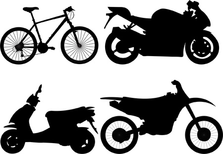 Bicycle and motorcycle silhouette.