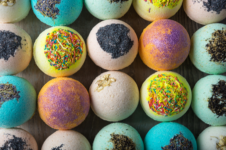 Photo pour Scope bath. Cosmetic bomb. Meant for relaxation and body care - image libre de droit