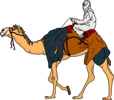 Illustration pour bedouin riding a camel,isolated on background - image libre de droit