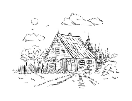 Illustration pour vector - old wooden Cottage house , isolated on background - image libre de droit