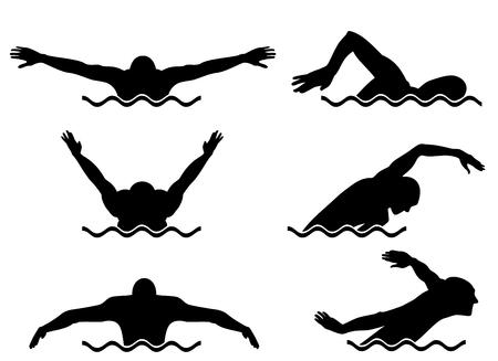Illustration pour Vector illustration of a six swimmers set - image libre de droit