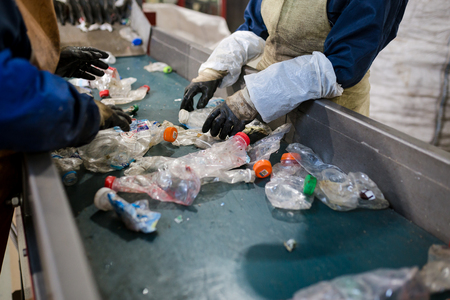 Photo for production line for the processing of plastic waste in the factory - Royalty Free Image