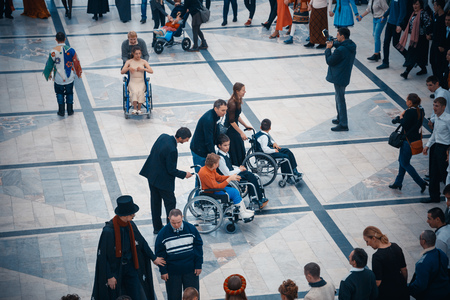 Foto de MINSK, BELARUS - MAY 1, 2017: children with Down syndrome dance and have fun at the ball - Imagen libre de derechos