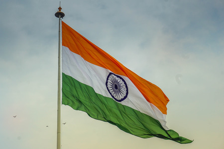 Photo pour Indian flag waving in the wind - image libre de droit