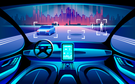 Ilustración de Autinomous smart car inerior. Self driving at night city landscape. Display shows information about the vehicle is moving, GPS, travel time, scan distance Assistance app. Future concept. - Imagen libre de derechos