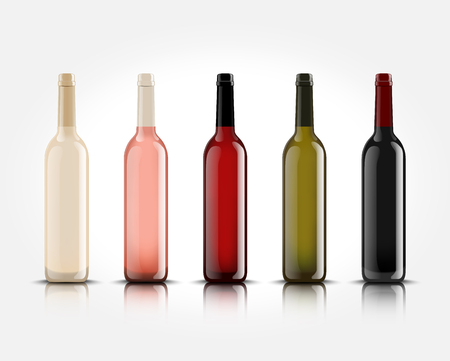 Ilustración de 3d realistic vector isolated wine bottles without labels for your design and logo. Mockup for presentation of your product. - Imagen libre de derechos