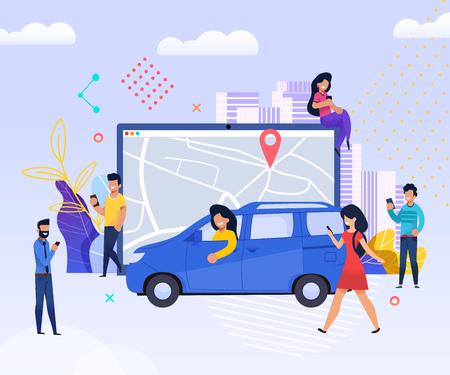 Illustrazione per Get fellow Traveler. Easy Find Companion Road. People use Mobile for Travel. Men and women use Smartphone quickly Get Trip. Urban City Map now Tablet. Technology Maintenance Transportation. - Immagini Royalty Free