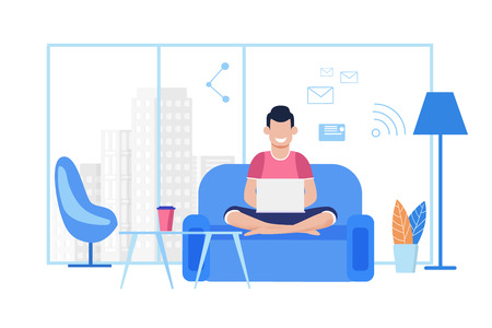 Illustrazione per Young Cartoon Guy Works on Laptop at Comfortable Coworking Office or at Home. Freelancer Typing Message, Sending Email, Chatting Social Media Using Wi-Fi, Sitting on Sofa. Vector Flat Illustration - Immagini Royalty Free