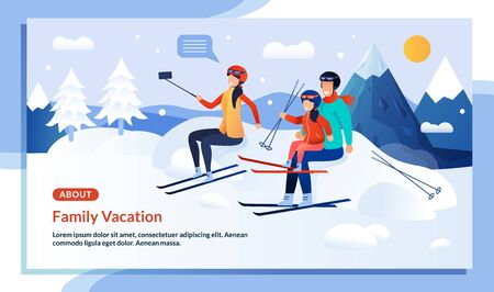 Ilustración de Mountaineering Family Characters Winter Vacation Promo Flat Poster. Cartoon Married Couple and Child Girl Skiers Taking Selfie on Smartphone. Mountain Ski Resort. Snowy Weather. Vector Illustration - Imagen libre de derechos