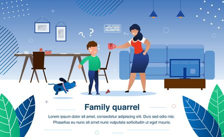 Illustration pour Family Quarrel, Parenting and Child Discipline Problems Trendy Flat Vector Banner, Poster Template. Angry Mother Arguing on Worried Son Because or Broken Cup, Boy Shifting Blame on Dog Illustration - image libre de droit